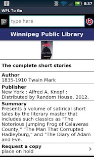 Winnipeg Public Library- screenshot thumbnail