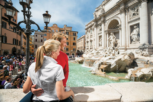 Trevi-Fountain-Rome-Tere-Moana - Visit charming Trevi Fountain in Rome during your cruise aboard Tere Moana. Don't forget to bring a penny and make a wish!