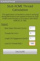 Screenshot of Stub ACME Thread Calculation