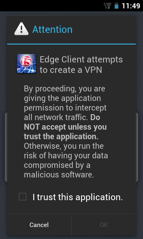 F5 BIG-IP Edge Client - screenshot