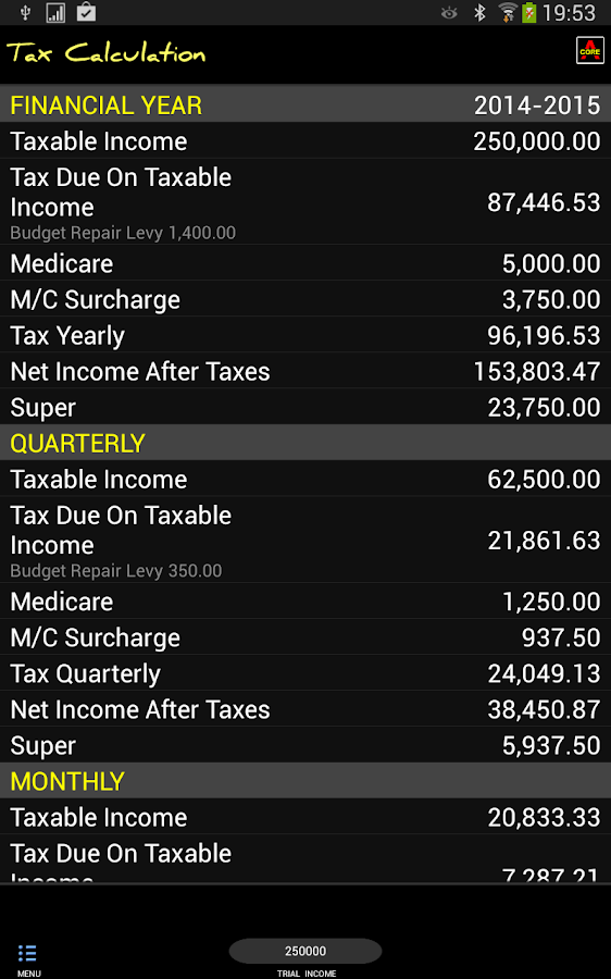 Australian Tax Calculator - screenshot
