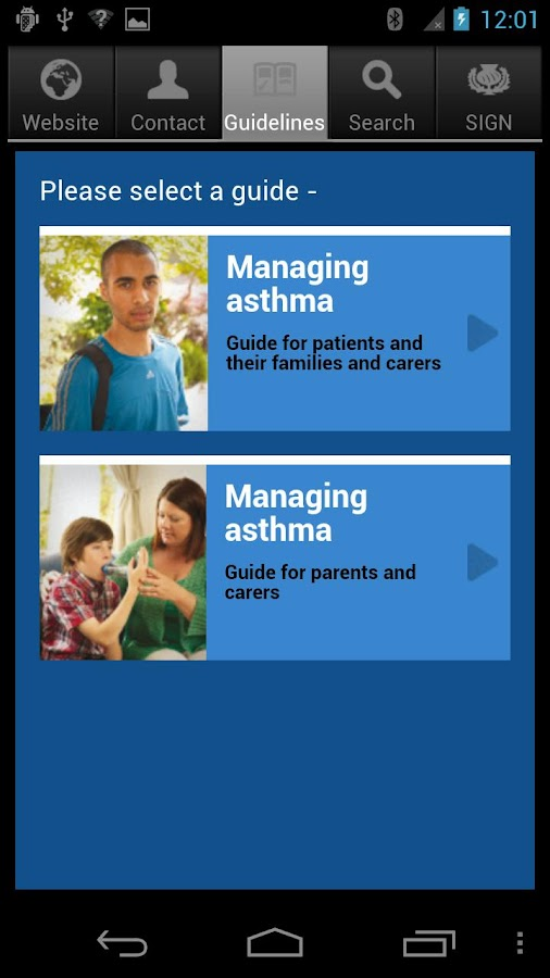 SIGN Asthma Patient Guide - screenshot