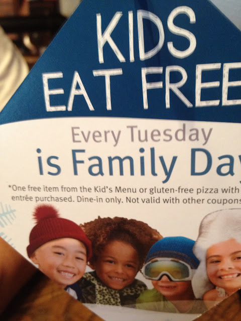Kids can get a free gluten free pizza with adult purchase on Tuesday.  Great Pizza!