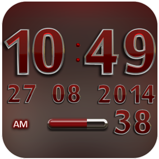 Digi Clock Widget Red Gear