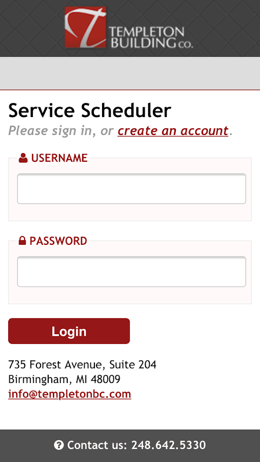 Templeton BC Service Scheduler- screenshot