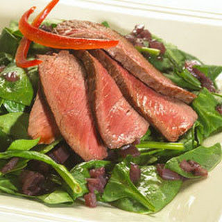 Pan Seared Beef With Shallot Vinaigrette & Baby Spinach.