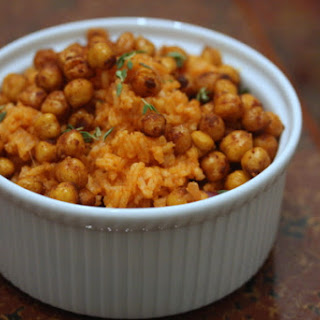 Spanish Rice with Crispy Pimenton Chickpeas.