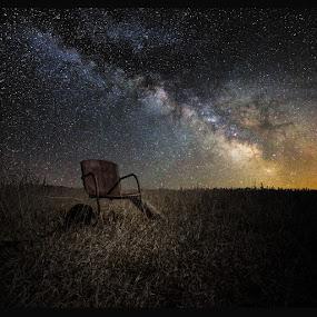 Redneck Planetarium by Aaron Groen - Landscapes Starscapes ( field, chair, old, star gazing, stars, planetarium, milky way stars, south dakota, rusty, milky way )