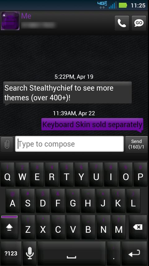 GO SMS Black Purple Theme - screenshot
