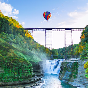 up up and away by Michael Wolfe - Uncategorized All Uncategorized ( gorge, bridge, balloon, railroad bridge, river,  )