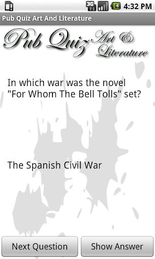 Pub Quiz Art Literature Free
