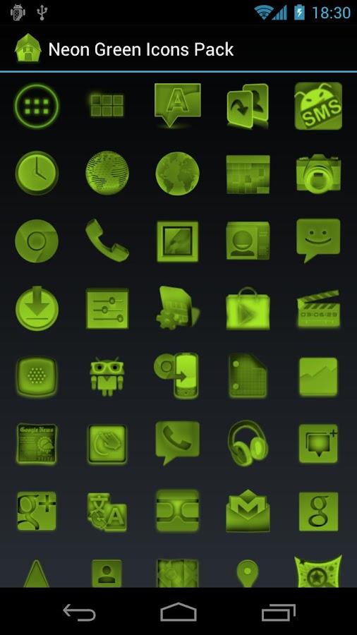 Neon Green Icons Pack - ADW GO- screenshot