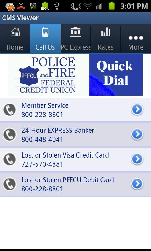 Police and Fire Federal Credit - screenshot
