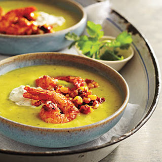 Chilled Avocado Soup with Seared Chipotle Shrimp.