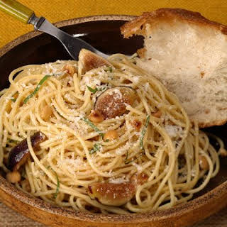 Spaghetti with Figs, Basil, Brown Butter, and Hazelnuts.
