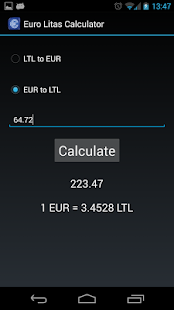 EUR LTL calculator- screenshot thumbnail