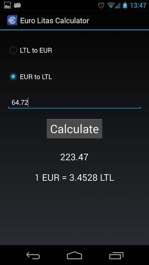 EUR LTL calculator- screenshot