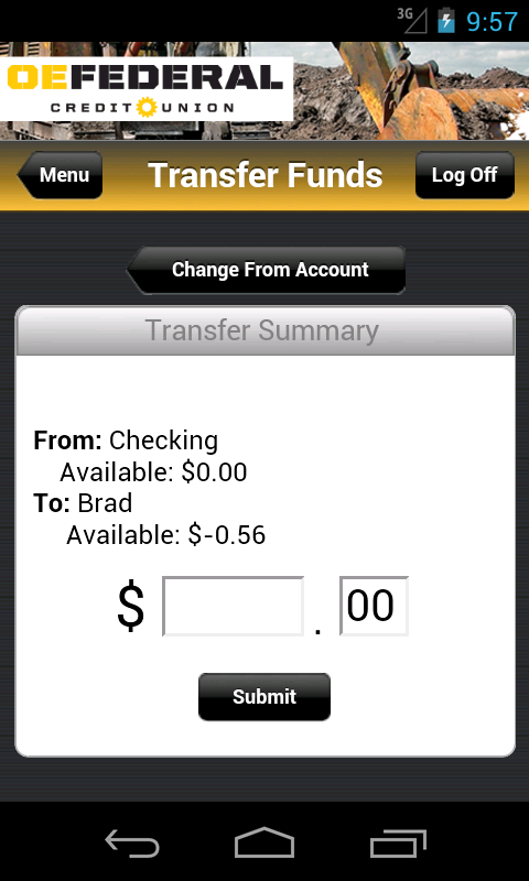 OEFCU Mobile Banking App- screenshot