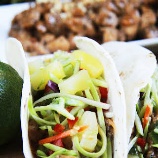 Thai Peanut Chicken Tacos with Pineapple Lime Cucumber Slaw.