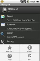 Screenshot of SMS Export and SMS Backup