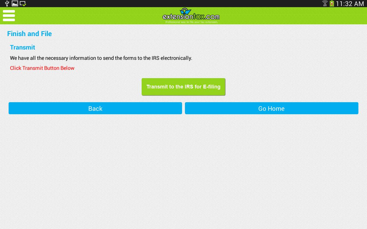Extension Tax 4868 Screenshot