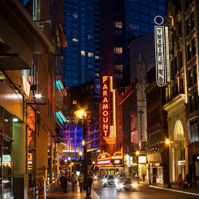 Washington Street by Daniel Olsen - City,  Street & Park  Night