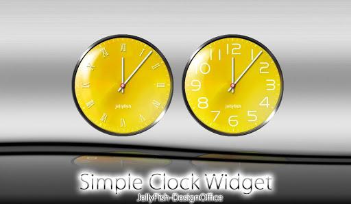 シンプルなアナログ時計ウィジェット【yellow】
