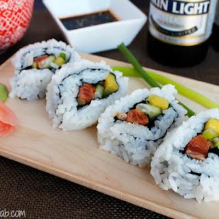Mango Salmon Cucumber Sushi Rolls