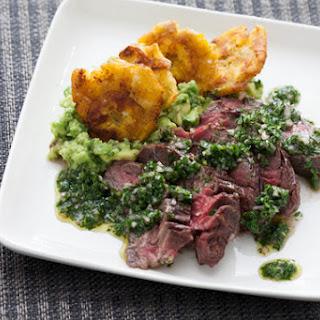 Hanger Steak with Salsa Verde & Plantains.