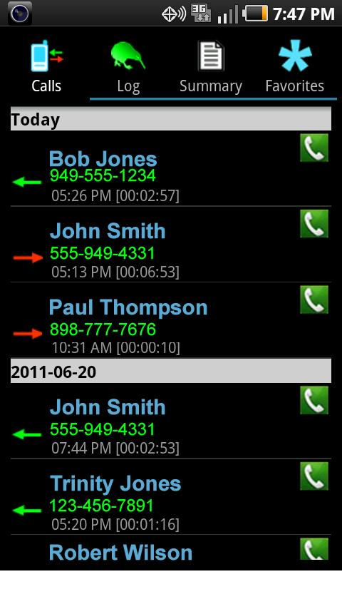 Business Call Tracker - screenshot