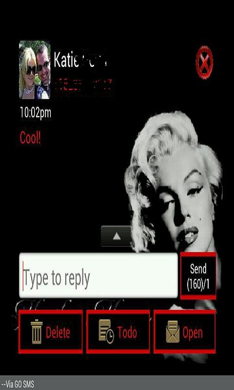 GO SMS THEME/MarilynMonroe - screenshot