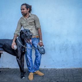 Man's Best friend by Kavindu Anthony - Animals - Dogs Portraits ( black dog, boy with dogg, friends, large bread, man's best friend, dog, russian great dane, great dane, dogg, boy and dog, #GARYFONGPETS, #SHOWUSYOURPETS,  )
