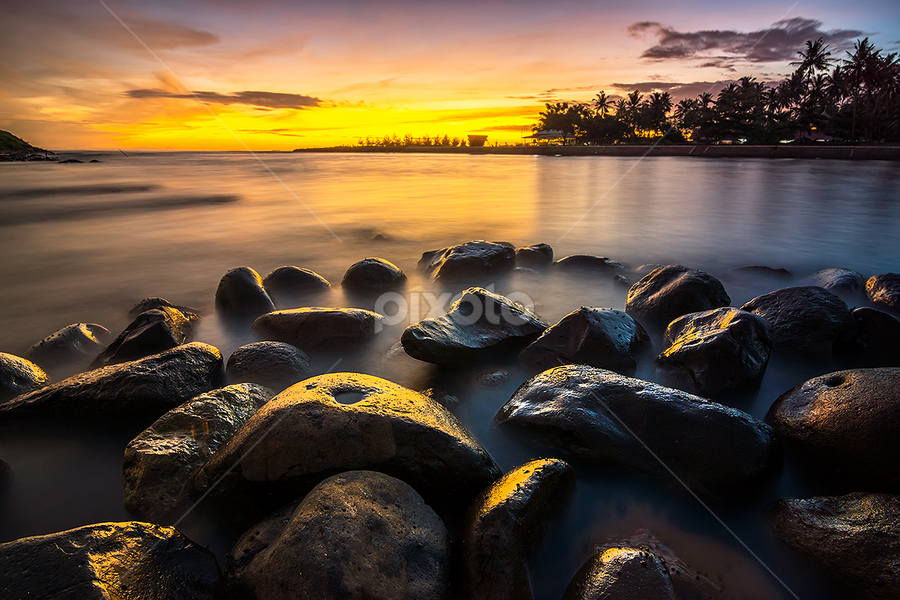 Panjalinan Stones by Ade Noverzan - Landscapes Waterscapes ( sunset, beach, stones, dusk )