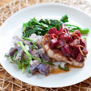 Five-Spice Pork Chops with Plum Sauce, Chinese Broccoli & Purple Sweet Potato.