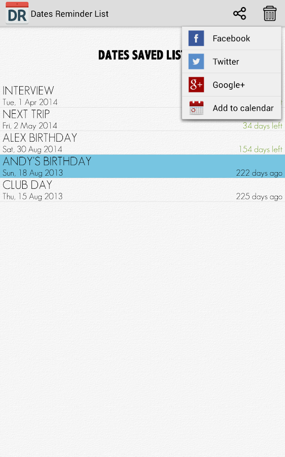 Dates Reminder Android Apps On Google Play