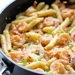 Spicy Parmesan Shrimp Pasta.