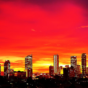Red Sky by Bastian AS - City,  Street & Park  Skylines ( cityscapes, jakarta, night, stunning, city, color, colors, landscape, portrait, object, filter forge )