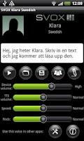 Screenshot of SVOX Swedish Klara Voice
