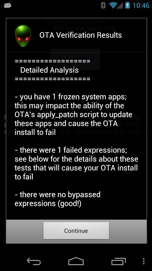 OTA Verifier - screenshot