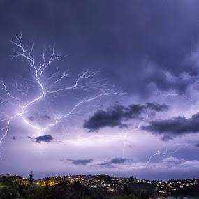 Newport Lighting Up by Adam Beniston - Landscapes Weather ( wow, lightning, australia, storm, sydney )