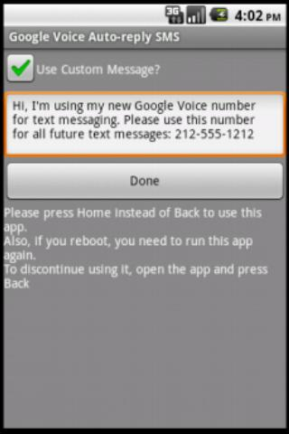 Google Voice Auto-reply SMS - screenshot