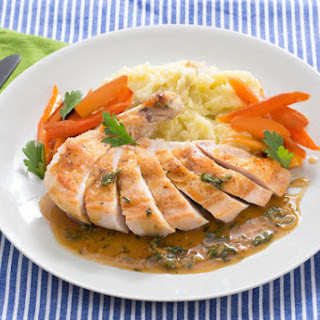 Pan-Roasted Chicken with Mashed Potatoes & Maple-Glazed Carrots
