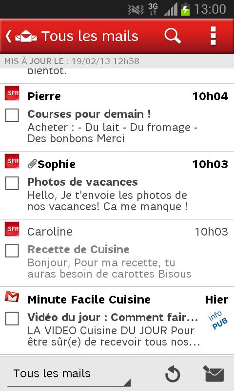 SFR Mail - screenshot