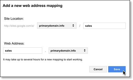 Dialog box for adding a new web address mapping