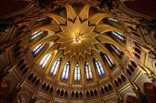 The golden dome inside the Parliament Building, Budapest, Hungary.