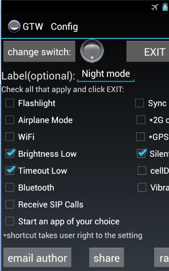 Generic Toggle Widget - screenshot