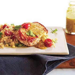 Pork over Couscous with Pistachio-Lemon Vinaigrette.