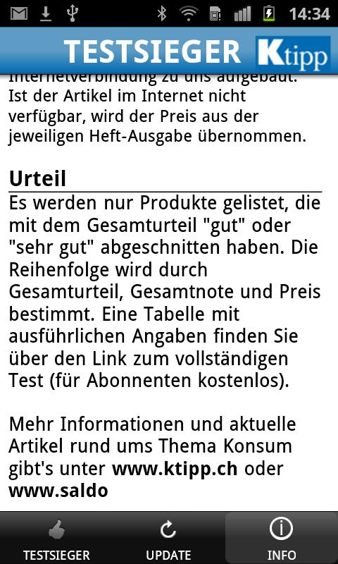 KTipp Testsieger- screenshot