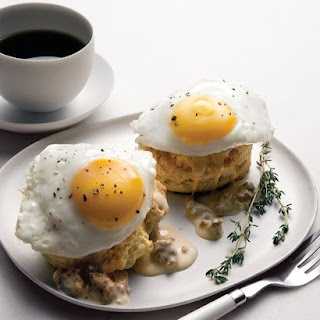 Southern Fried Eggs Over Buttermilk Biscuits with Sausage Gravy.