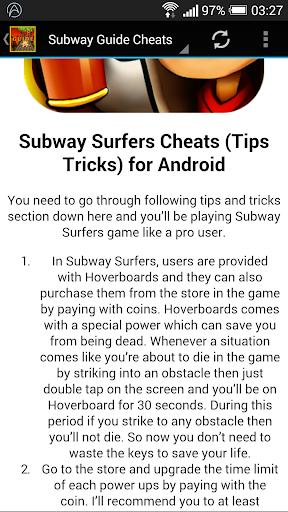Subway Guide Cheats
